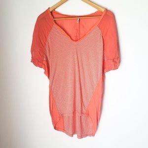 Splendid   Striped Silk Blend Short Sleeve Blouse